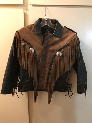 Unisex leather fringed jacket size small for Sale in San Jose, CA