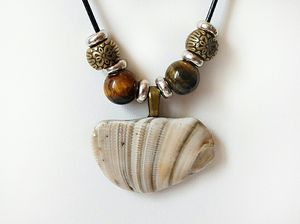 Shell Pendant Necklace With Yellow Tiger Eye Gemstones for Sale in Ephrata, PA