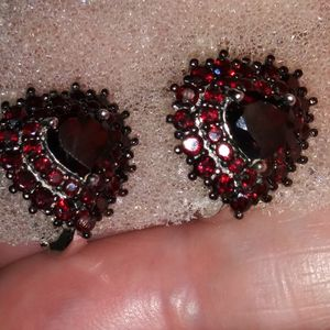 Dark Garnet Heart Shaped Earrings 925silver for Sale in San Leandro, CA