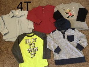 Boy clothes/long sleeves shirts size 4t (still available) 5 items for Sale in Auburn, WA