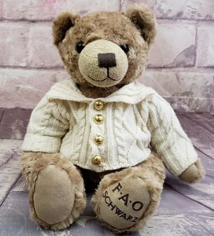 "FAO Schwartz collectible 12"" Teddy bear with knit sweater for Sale in New Port Richey, FL"