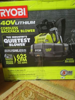 NEW RYOBI RY40440 CORDLESS ELECTRIC BATTERY POWERED BACKPACK LEAF BLOWER for Sale in Jackson Township, NJ