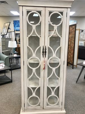 2-door Display Tall Cabinet Antique White and Blue for Sale in Dallas, TX