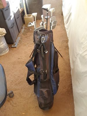 Golf clubs Acer irons Wilson putter Spalding wood in nightwood extreme distance excellent condition and bag and accessories $60 or best offer for Sale in Wildomar, CA