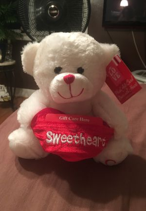 """Stuffed bear 8"""" high. With a heart pocket to insert gift card. $5.00 for Sale in Appleton, WI"""