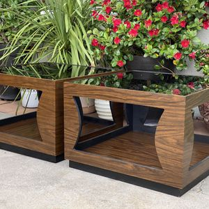 Vintage Mid Century Boho Smoked Glass Cube Side End Tables Nightstands $175 each for Sale in San Diego, CA