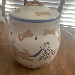 Large Retired Inspirado Dog Treat Canister Tug of War Dogs & Bones Stonelite for Sale in Phoenix, AZ