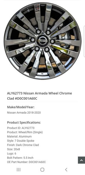 Nissan Armada platinum reserve black chrome rims for Sale in San Diego, CA