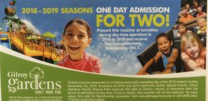 Gilroy Gardens One day admission for 2 for Sale in Tracy, CA