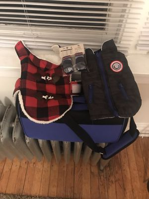 Small dog jackets, winter boots and soft kennel for carry on for Sale in Chicago, IL