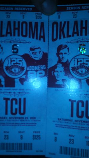 2 tickets to ou and tcu game for Sale in Oklahoma City, OK