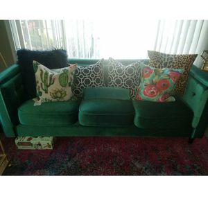 Green Velvet Couch for Sale in Seattle, WA