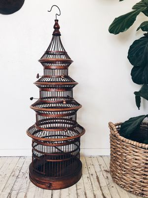 Gorgeous Authentic Wood Bird Cage / Hanging / Vintage Decor for Sale in San Diego, CA