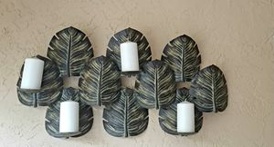 Large Metal Banana Leaf Tropical Wall Candle Holder for Sale in Margate, FL