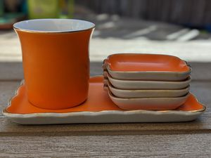 Mid Century Modern Ceramic Smoking Set w/ rolling tray, ashtrays and cigarette holder for Sale in Playa del Rey, CA