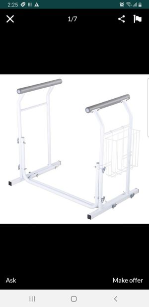 Bathroom Toilet Safety Rail Frame Bar Support 375lbs with Magazine Rack Assist Handrails for Elderly Handicap for Sale in Bellflower, CA