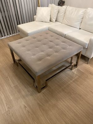 Grey square tufted coffee table ottoman in champagne for Sale in Los Angeles, CA
