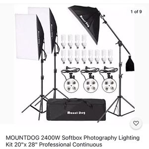 """MOUNTDOG 2400w Soft box photography Lighting Kit 20""""x28"""" Professional Continuous Studio Lighting Equipment With Boom Arm Hairlight And Carry Case for Sale in Los Angeles, CA"""