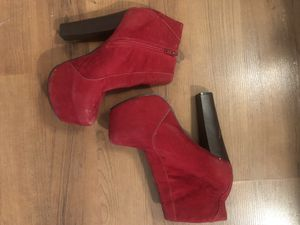 Red Suede Platform Ankle Boots for Sale in Arlington, VA