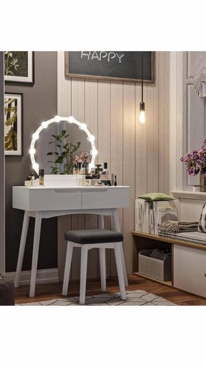 Vanity Set with 10 Light Bulbs and Touch Switch, Dressing Makeup Table Desk with Large Round Mirror, 2 Sliding Drawers, 1 Cushioned Stool for Bedroom for Sale in Corona, CA