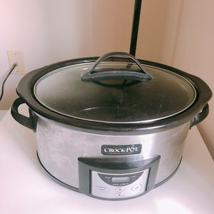 Crock-Pot - Countdown 6-Quart Slow Cooker and Little Dipper Warmer - Stainless-Steel/Black for Sale in Seattle, WA