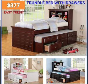 Brand new twin size bed frame with trundle new furniture add mattress for Sale in Ontario, CA