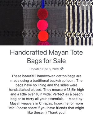 Handcrafted Mayan Tote Bag for Sale in Jacksonville, FL