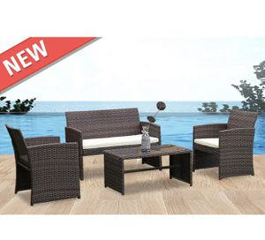 4 PCS Outdoor Patio Rattan Wicker Furniture Set Table Sofa Cushioned Garden Deck for Sale in Philadelphia, PA