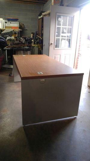 Metal desk wood top for Sale in Charlotte, NC