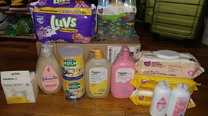 Infant newborn baby LUV pampers / diapers swipes powder cereals breast shield baby bottles for Sale in Queens, NY