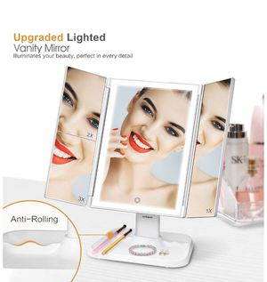 Makeup Mirror Vanity Mirror with Lights - LEDs Trifold Mirror, Touch Control, 1x/2x/3x Magnification, Portable High Definition Cosmetic Lighted Up Mi for Sale in Queens, NY