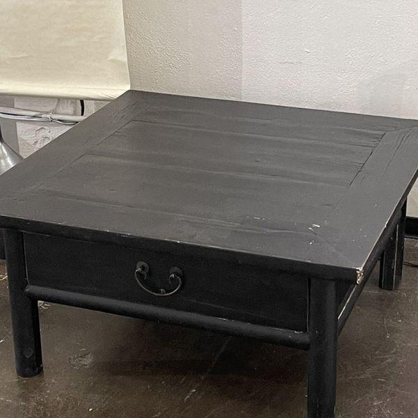 Vintage Elm Wood Square Coffee Table