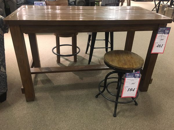 Wood Rectangular counter table with 4 stools by Ashley Home