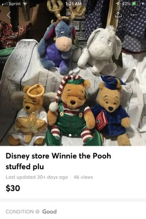 Disney store Winnie the Pooh Eeyore plush collection of five Most have tags in excellent condition no pets no smoke no damage for Sale in Bethlehem, PA