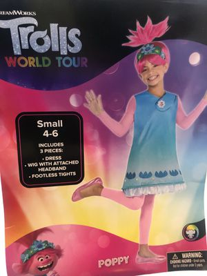 Trolls Poppy costume for kids size 4-6 (dress and wig and tights). for Sale in Hermosa Beach, CA