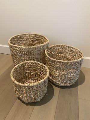 Handwoven Storage Baskets- Set of 3 for Sale in Phoenix, AZ