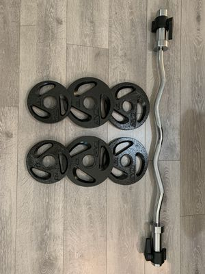 65LB Iron Weight set with Olympic Curling bar Adjustable (Brand New!) 🏃‍♀️🏋️‍♀️🏄‍♂️🌊 for Sale in Huntington Beach, CA