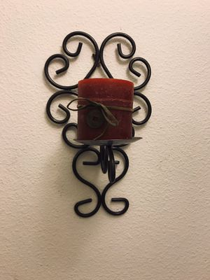 Metal wall sconce with candle for Sale in Orlando, FL
