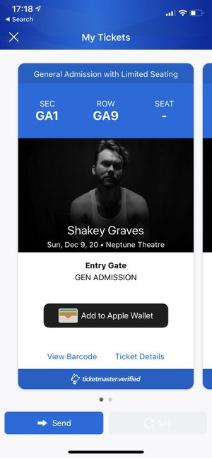 TONIGHT! Shakey Graves Tickets for Sale in Snoqualmie, WA