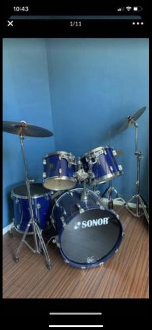 🥁 Sonor Force 3003 Blue Drums Drum Set HARDLY USED 🥁 for Sale in Los Angeles, CA