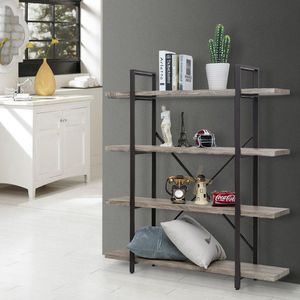 4 Tier Wood Bookcase Solid 130lbs Load Capacity Industrial Bookshelf, Sturdy Bookshelves with Steel Frame, Storage Organizer Home Office Shelf GRAY for Sale in Ontario, CA