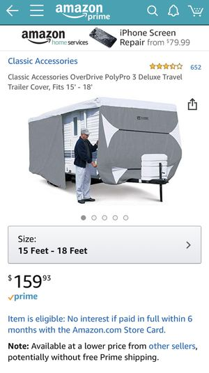 RV cover for camper 15 to 18 feet for Sale in Laurel, MD
