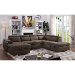 BROWN NABUCK FABRIC SECTIONAL SOFA STORAGE CHAISE ADJUSTABLE BED / SILLON CAMA SECCIONAL for Sale in Temecula, CA