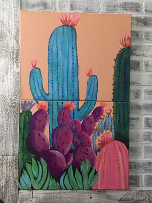 Two Canvas Cactus Painting for Sale in Victoria, TX