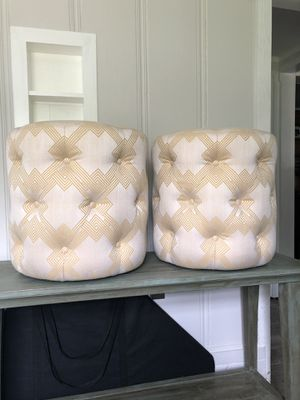 "Excellent Mitchell Gold + Bob Williams Rocco Gold/Ivory Tufted 20"" Round Ottomans for Sale in Melrose, TN"
