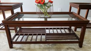 1 coffee table with glass tabletop + 2 end tables for Sale in Murfreesboro, TN