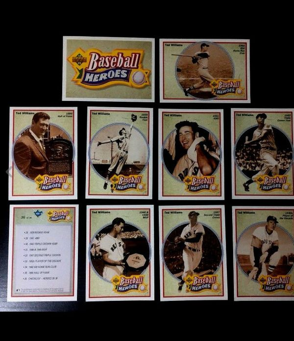 Vintage Ted Williams Upper Deck Baseball Card Heroes Lot of 10 #28-36 Card 1991