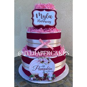 Burgundy and pink fall pumpkin themed diaper cake great for baby showers for Sale in La Mirada, CA