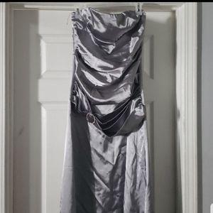 Silver formal long dress L for Sale in Atlanta, GA