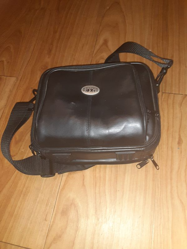 Portable DVD player with leather case